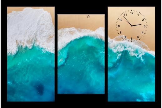 Модульная картина с часами Волна